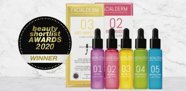 Facialderm, winner of the Beauty Shortlist Awards as an innovative brand