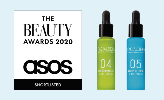 Facialderm Pore Minimiser Serum and Anti-pollution Serum shortlisted at The Beauty Awards 2020 Asos